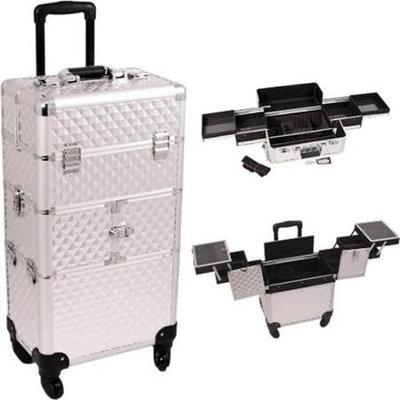 Just Case Sunrise I3164DMSL Silver Diamond Trolley Makeup Case