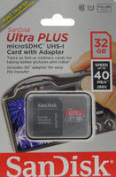 Sandisk - Ultra Plus 32GB Microsdhc Class 10 Uhs-1 Memory Card - Gray/red
