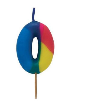 Creative Converting Tie Dyed Numeral # 0 Pick Candle
