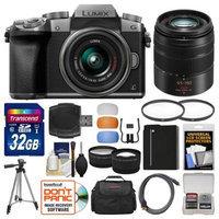 Panasonic Lumix DMC-G7 4K Wi-Fi Digital Camera & 14-42mm (Silver) with 45-150mm Lens + 32GB Card + Case + Battery + Tripod + Tele/Wide Lens Kit with PANASONIC USA Warranty