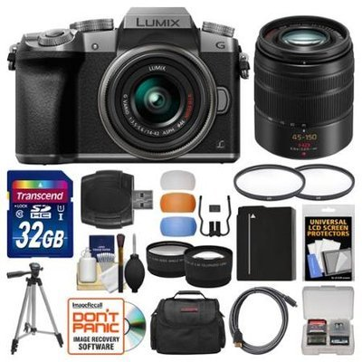 Panasonic Lumix DMC-G7 4K Wi-Fi Digital Camera & 14-42mm (Silver) with 45-150mm Lens + 32GB Card + Case + Battery + Tripod + Tele/Wide Lens Kit with PANASONIC USA Warranty