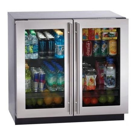 U-Line 7.1 Cu. Ft. Stainless Steel Double Door Mini Refrigerator - 3036RRGLS