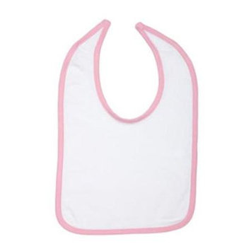 Rabbit Skins 1004 Infant Jersey Contrast Trim Closure Bib White and Pink One Size