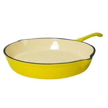 Fancy Cook Enamel Cast Iron Yellow Skillet - 10 in.