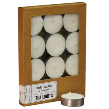 HomArt Unscented Tealight Wax Candle, Ivory, 12-Pack