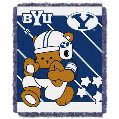 Brigham Young Cougars NCAA Triple Woven Jacquard Throw (Fullback Baby Series) (36x48)