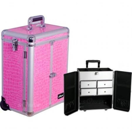Sunrise Books Sunrise E6305CRPK Pink Crocodile Split Drawer Textured Case