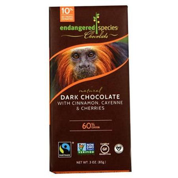 Endangered Species Chocolate Bars - Dark Chocolate - 60 Percent Cocoa - Cinnamon Cayenne and Cherries - 3 oz Bars, (Pack of 12)