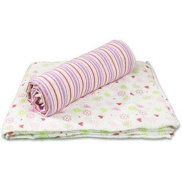 SpaSilk 100% Cotton 2 Pack Muslin Swaddle Blankets - Pink Flower