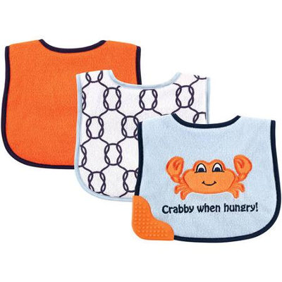 Baby Vision Luvable Friends 3 Pack Bibs with Teether - Crab