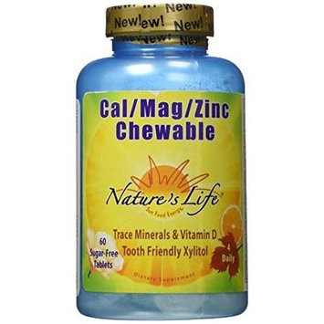 Cal Mag Zinc Citrus 1000mg/5000mg/15mg Nature's Life 60 Chewable
