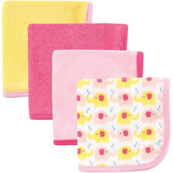 Baby Vision Luvable Friends 4 Pack Washcloths - Pink Elephant