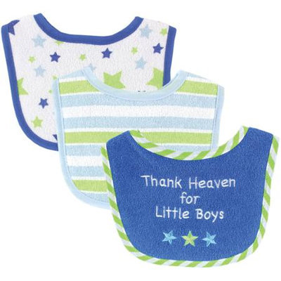 Baby Vision Luvable Friends 3 Pack Drooler Bibs - Blue Star