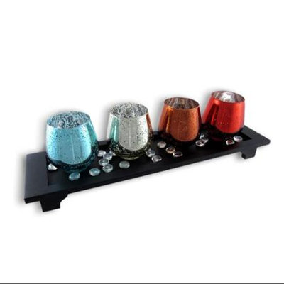 Zeckos Colorful Wood and Glass Candle Garden 6 Pc. Set