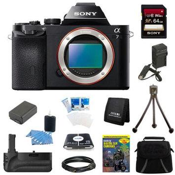 Sony Alpha 7 a7 Digital Camera 64GB SDHC Card, Battery and Battery Grip Bundle