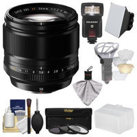 Fujifilm 56mm f/1.2 XF R Lens with Flash + Soft Box + 2 Diffusers + 3 Filters Kit for X-A2, X-E2, X-E2s, X-M1, X-T1, X-T10, X-Pro2 Cameras
