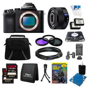 Sony Alpha 7 a7 Digital Camera, 35mm Lens, 2 64GB SDHC Cards, 2 Batteries Bundle