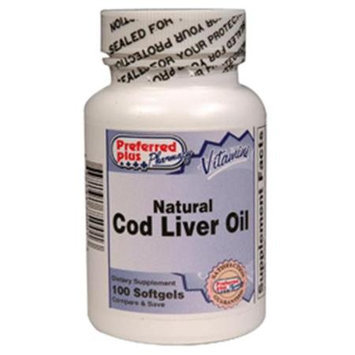 Preferred Plus Natural Cod Liver Oil Dietary Supplement Softgels - 100 Softgels