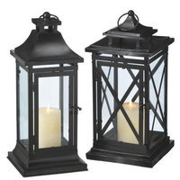 Midwest Seasons 2 Piece Glass Lantern Set