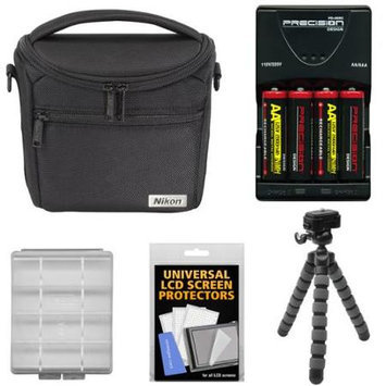 Nikon 17009 Series 1/Coolpix Compact Camera Case with 4 AA Batteries & Charger + Flex Tripod + Kit for Coolpix L830 L840