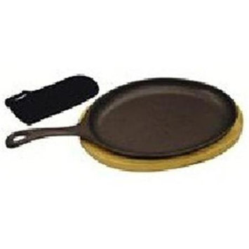Bayou Classic Cast Iron Fajita Pan And Wooden Tray Set