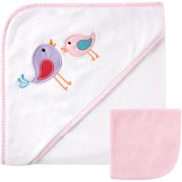 Baby Vision Luvable Friends Applique Hooded Towel and Washcloth Set - Bird