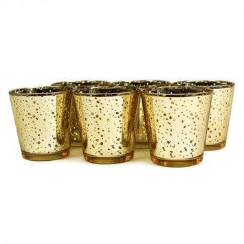 Koyal Wholesale Antique Glass Votive Cup (Set of 6), Gold, 3 H x 2.75 W x 2.75 D