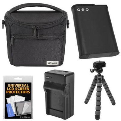 Nikon 17009 Series 1/Coolpix Compact Camera Case with EN-EL23 Battery & Charger + Flex Tripod + Kit for P600 P610 P900