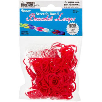 Darice Inc Darice RB1-1001 Mini Rubber Bands 300-Pkg with 12 Clips-Red