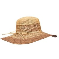 Tommy Bahama Two Toned Crochet Raffia Hat - Taupe
