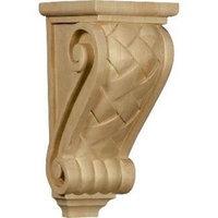 Ekena Millwork 4.5-in x 10-in Alder Basket Weave Wood Corbel