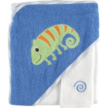 Baby Vision Luvable Friends Tropical Hooded Towel & Washcloth, Blue Lizard