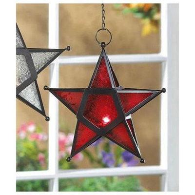 Koehlerhomedecor Red Glass Star Lantern Candle Holder 9.5