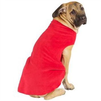 Gold Paw Fleece Dog Coat - Size: 10, Color: Red
