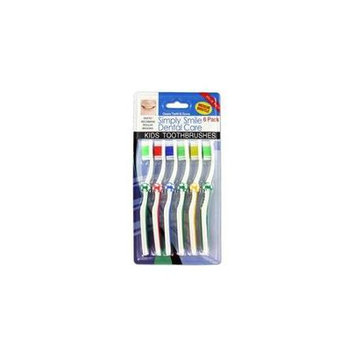 Kole Imports 6-Pack Children's Toothbrushes Soccer Theme(Case of 24)