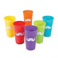 Fun Express 13629792 Plastic Rainbow Mustache Tumblers
