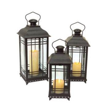 Melrose Set of 3 Black Mission-Style Decorative Glass Pillar Candle Lanterns