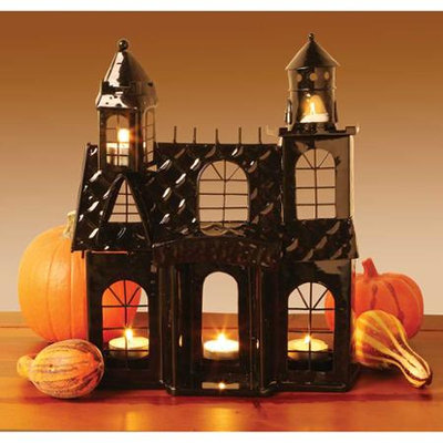 Whatonearth Haunted House Black Metal Votive Candle Holder