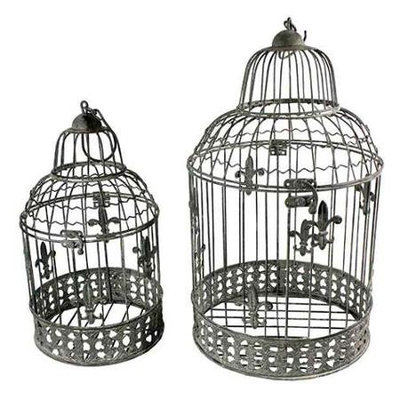 Benzara ETD-EN15054 Stylish Cool Set of 2 Bird Cage Metal Candle Holder