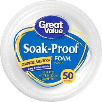 Great Value Soak Proof Foam Plates, 50 Ct