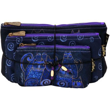 Laurel Burch LB5332 Cosmetic Bag Set Of Three-Indigo Cats