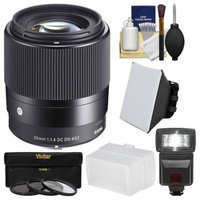 Sigma 30mm f/1.4 Contemporary DC DN Lens (for Sony Alpha E-Mount Cameras) with 3 UV/CPL/ND8 Filters + Flash + Diffuser + Soft Box + Kit