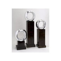 Cc Home Furnishings Set of 3 Sparkling Silver Ring Votive Candleholders 20