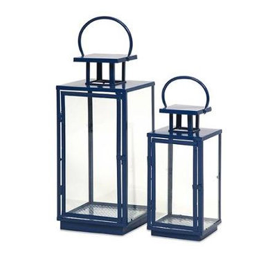 Cc Home Furnishings Set of 2 Asian Inspired Blue Glass and Iron Pillar Candle Lanterns - 22.25