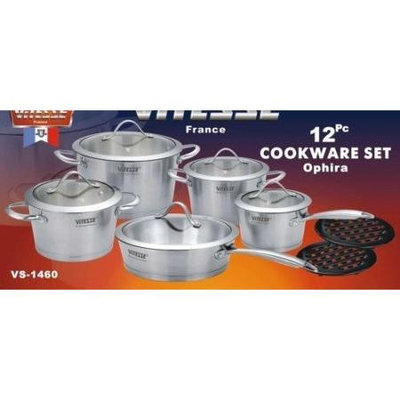 Concord Cookware Inc. ViTESSE 12PC Tri-Ply Brush Stainless Steel Cookware Set Dutch Oven Saucepan Fry
