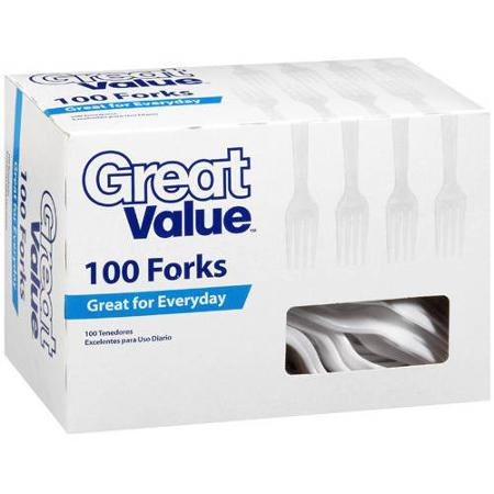 Great Value White Forks, 100 ct (Pack of 2)