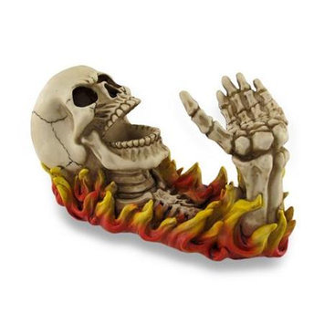 Zeckos Awesome Macabre Fiery Skeletal Wine Holder Bottle Display