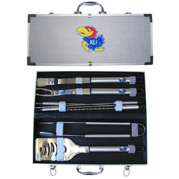 Siskiyou Buckle Co., Inc. Siskiyou Sports BBQC21A College 8 Pieces BBQ Set - Kansas Jayhawks