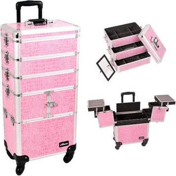 Just Case Sunrise I3364CRPK Pink Crocodile Trolley Makeup Case