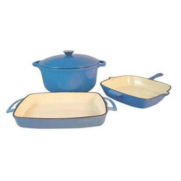 Le Chef 13-Piece Enamel Cast Iron France Blue Cookware Set.